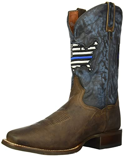 0ed6dea2d69 Dan Post Men's Thin Blue Line Flag Patch Cowboy Boot Square Toe