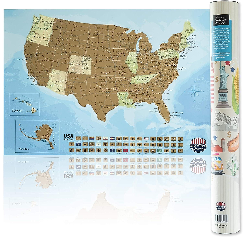 Amazon Com Incredible America Premium Scratch Off Usa Map 16x24