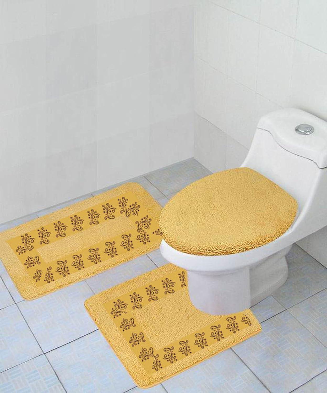 Absorbent Bath Rugs Lid Cover HOUYAN Bathroom Rugs Sets 3 Pieces Sugar Skulls Bath Mats Soft Anti-Slip 3 PCS Mats Set U-Shaped Toilet Mat