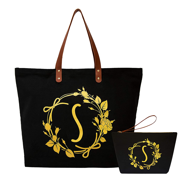 ElegantPark Initial S Monogram Personalized Party Gift Black Shoulder Tote and Travel Makeup Cosmetic Bag Zipper Cotton 2 Pcs