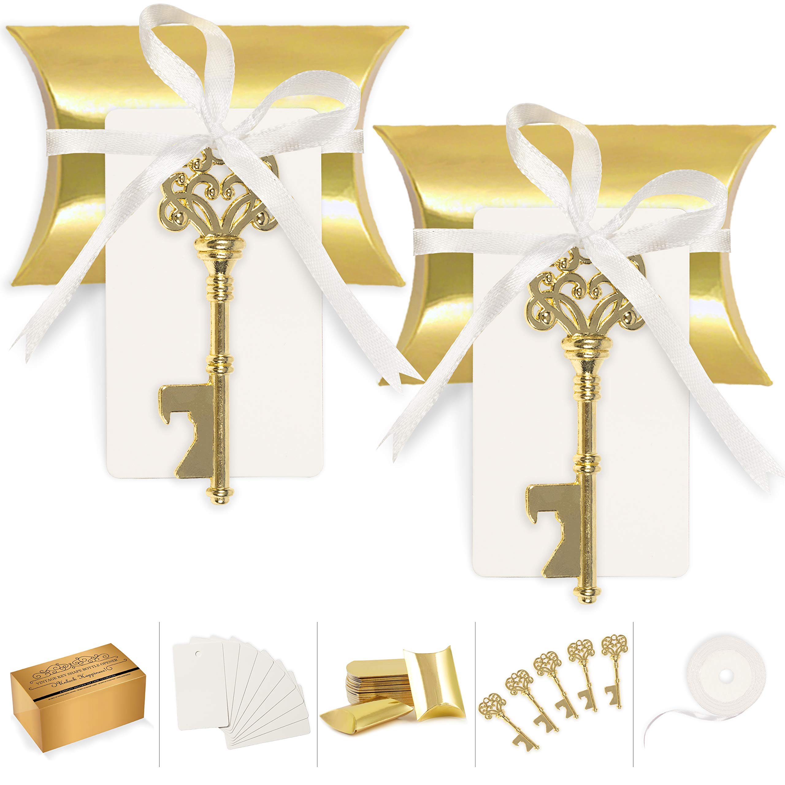 Wedding Favors for Guests Party Favor Vintage Skeleton Key Bottle Opener with Escort Card Tag Pillow Candy Box and Satin Ribbon 50 Pcs (Gold) by Double Down