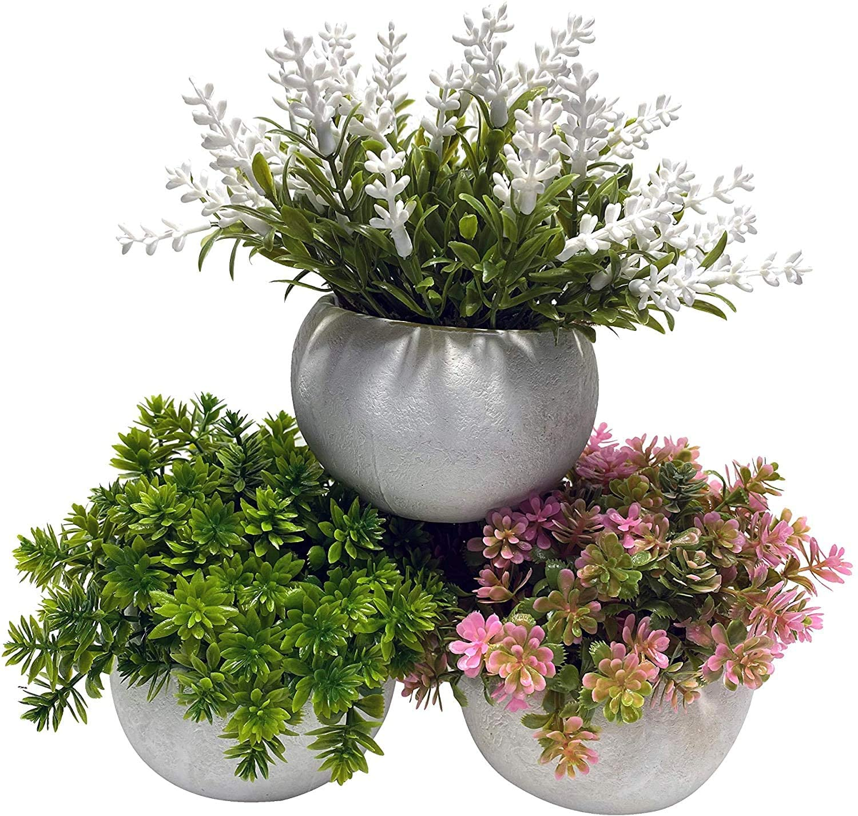 Artificial Mini Potted Plant Decor (Set of 3)   Pink, White, Green Set   Fake Plant   Office Decor, Bathroom Decor, Farmhouse Decor, Kitchen Decor   Faux Topiary decore   Home Decor Clearance