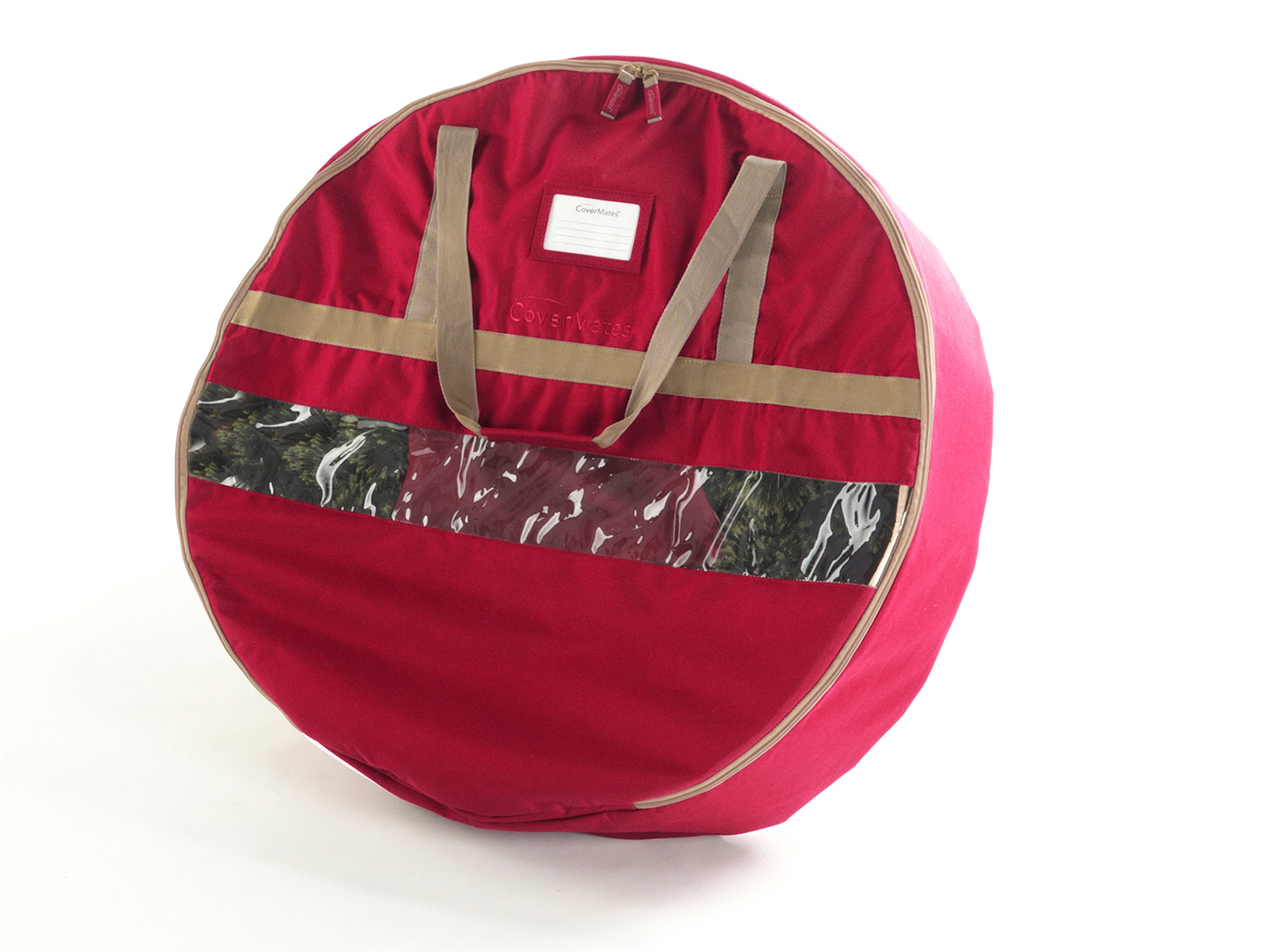 CoverMates – 24'' Christmas Wreath Storage Bag – 3 Year Warranty- Red