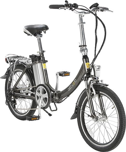 Deportivo de aluminio eléctrico de bicicleta plegable, 20 pulgadas, 6 velocidades, 21 kg: Amazon.es: Jardín