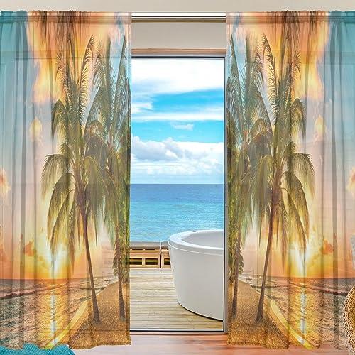 WOZO Summer Tropical Palm Tree Window Sheer Curtain Panels 55″x 84″
