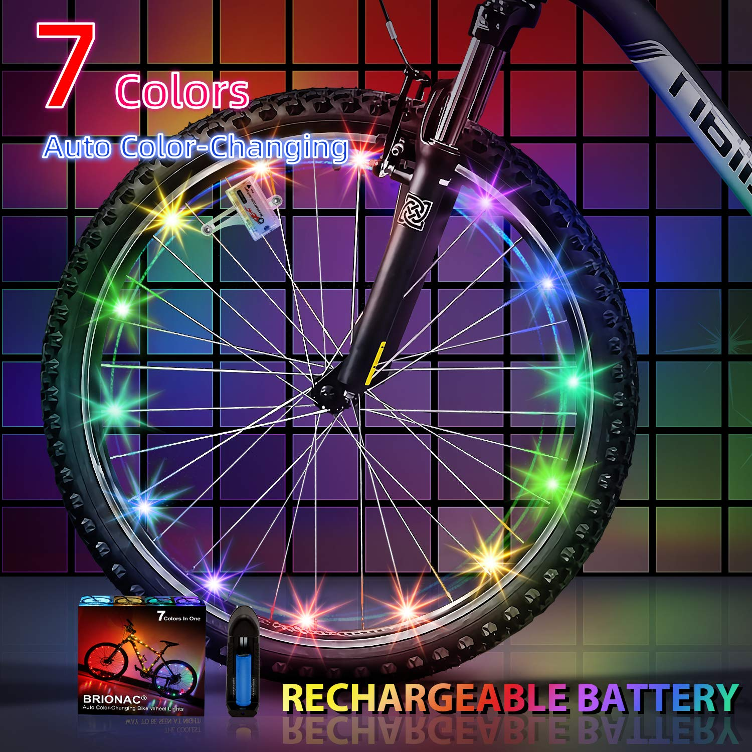 BRIONAC LED Bike Wheel Lights, Automatic Lighting, Light Sensitive Feature Added, Waterproof Bicycle Wheel Light String with Batteries Included, Ultra Bright 1Pack