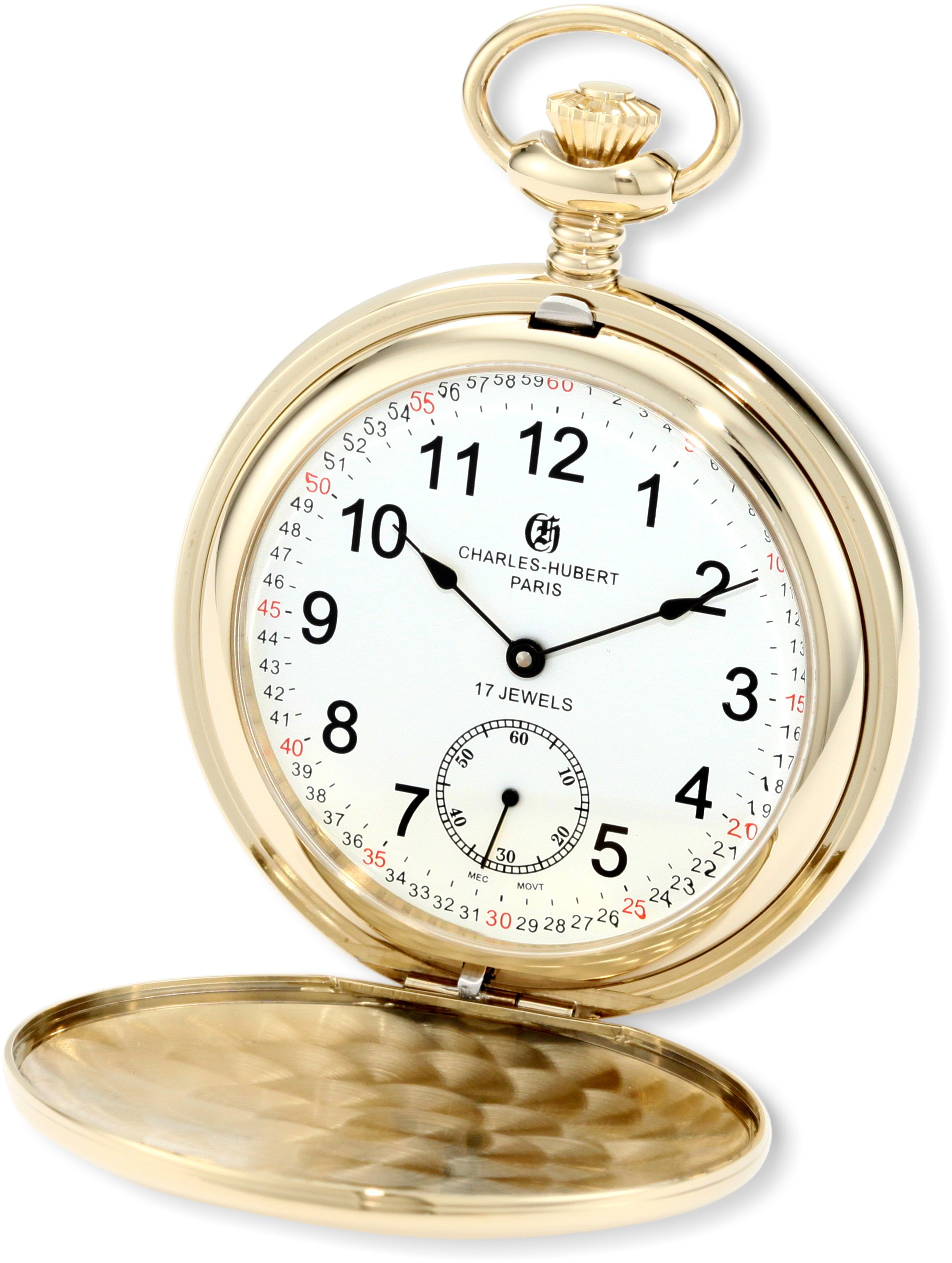 Charles-Hubert, Paris 3907-GRR Premium Collection Gold-Plated Stainless Steel Polished Finish Double Hunter Case Mechanical Pocket Watch