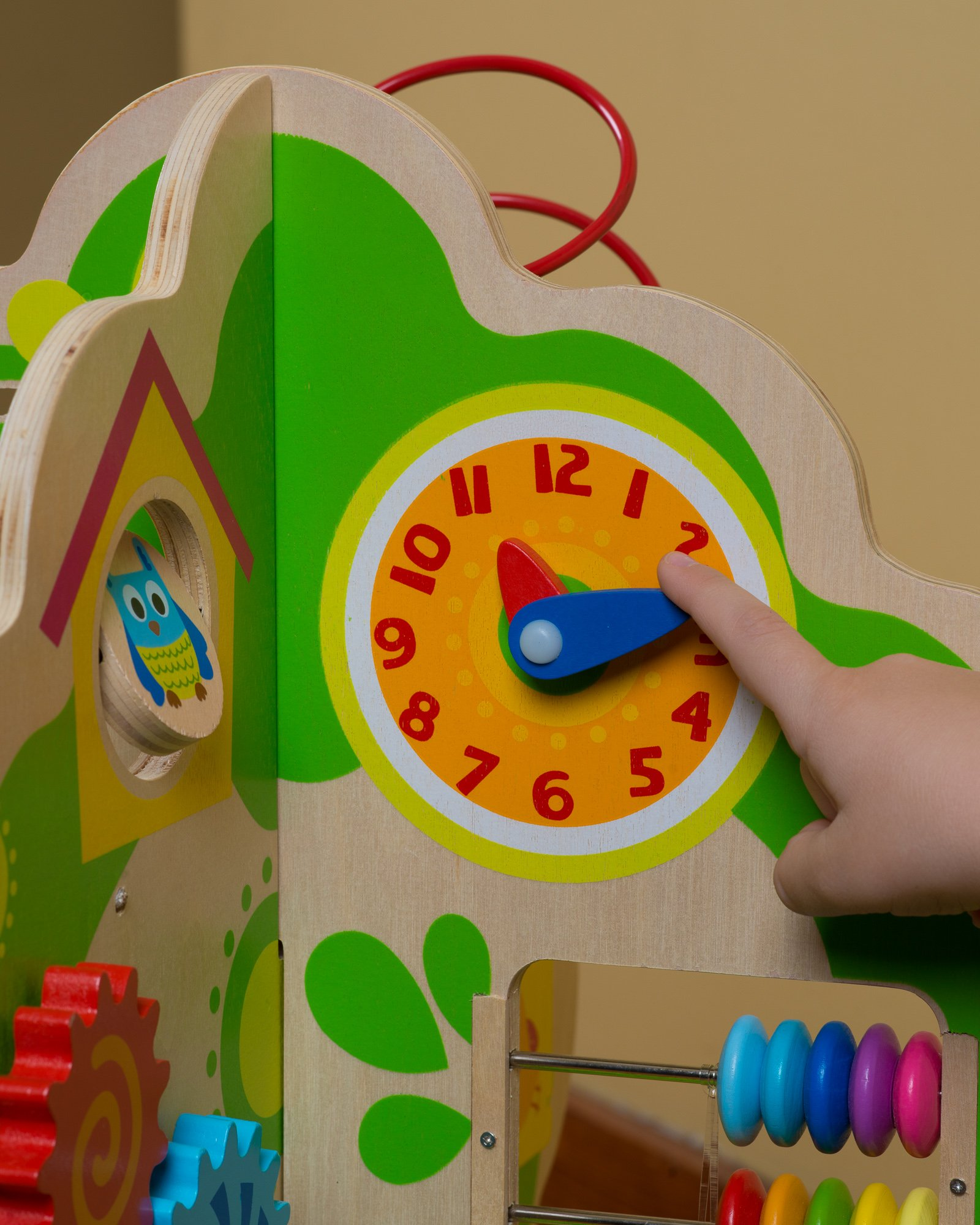 Ray's Toys Deluxe Wooden Activity Tree Center for Toddlers & Kids 1-5 Years –Educational Playstation for Learning Shapes, Colors, Time Telling & Counting –Made of Non-Toxic Wood W/ Water-Based Colors by Ray's Toys (Image #4)