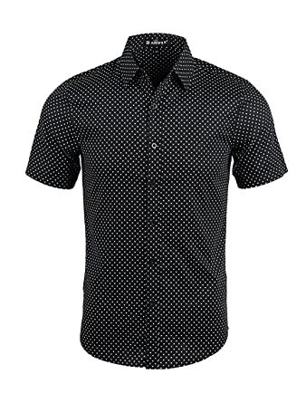 Allegra K Men Short Sleeves Dots Allover Print Cotton Button Down ...