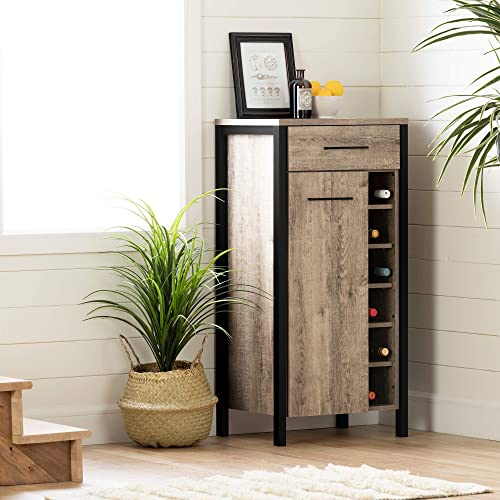 South Shore Munich Bar Cabinet with Storage-Weathered Oak and Matte Black