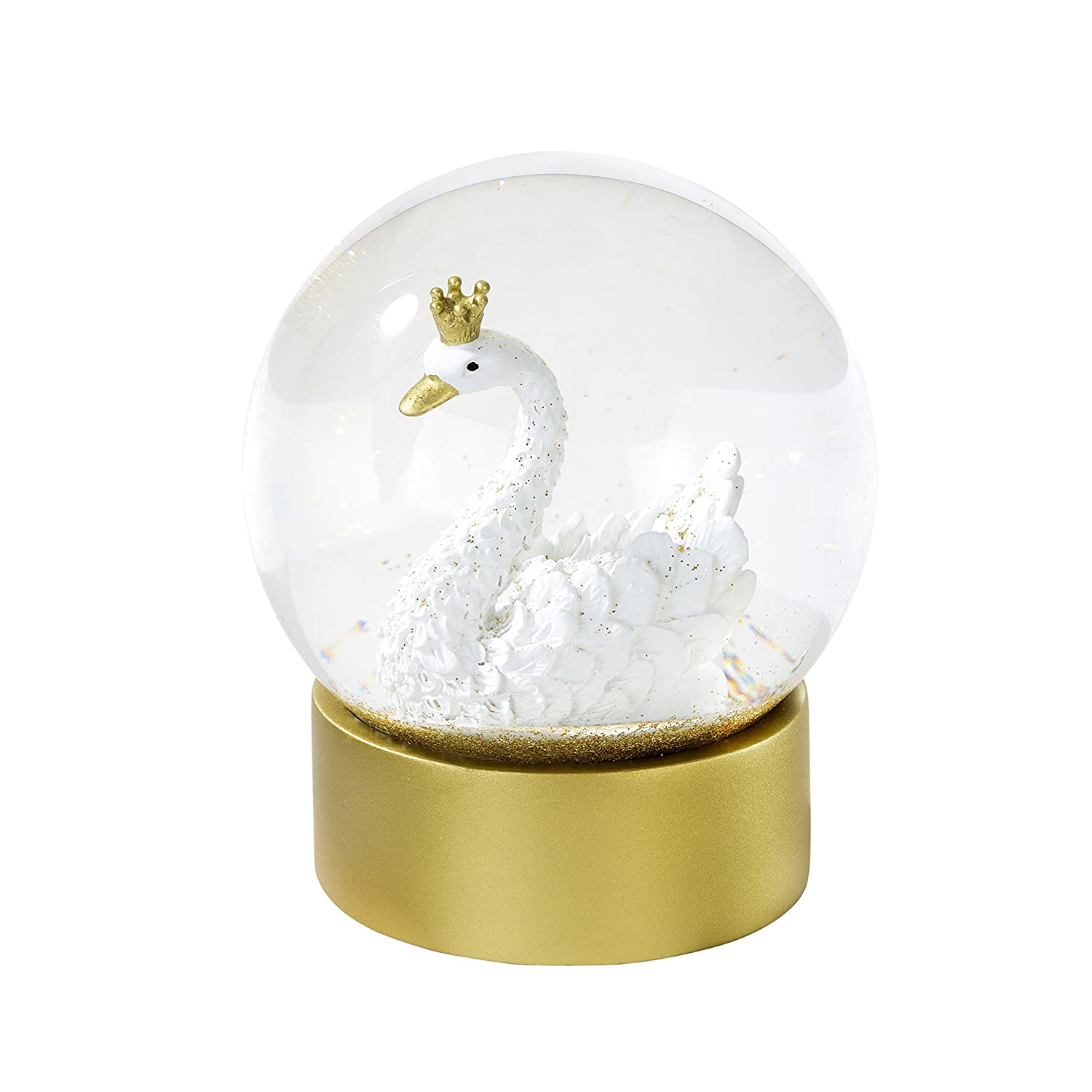 Snow Globe with Gold Glitter H12 x D10cm Talking Tables We Heart Swan