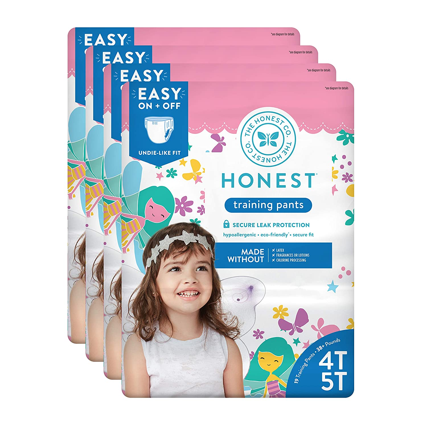 The Honest Company Toddler Training Pants, Fairies, 4T/5T, 76 Count The Honest Company HPC