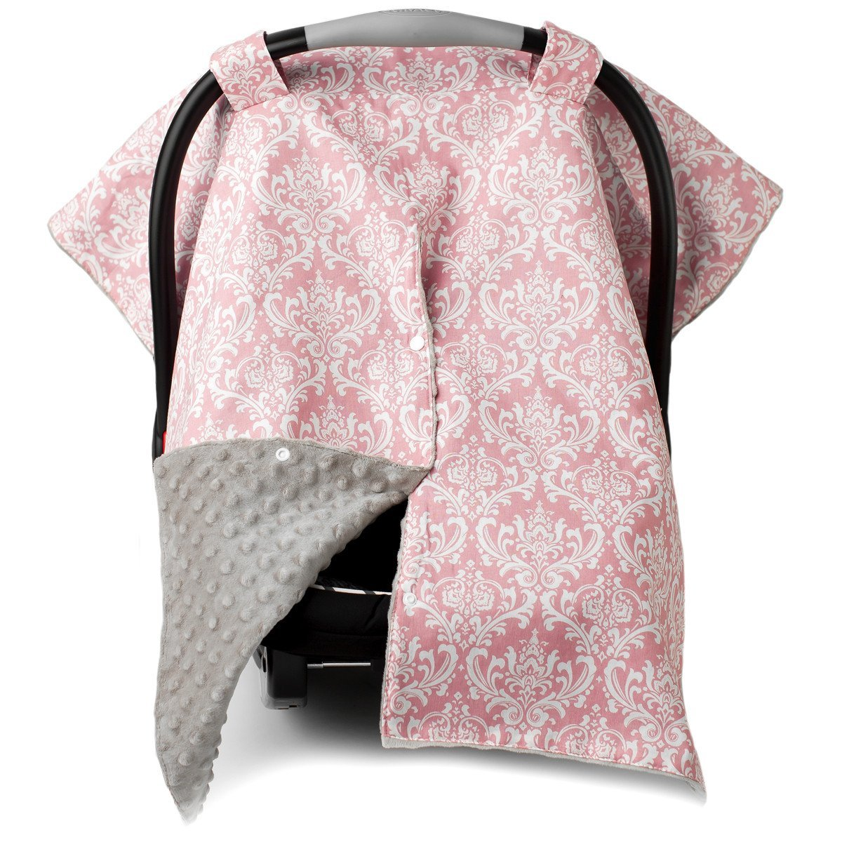 2 in 1 Carseat Canopy and Nursing Cover Up with Peekaboo Opening | Large Infant Car Seat Canopy for Girl | Best Baby Shower Gift for Breastfeeding Moms | Grey Damask Pattern with Soft Pink Minky Kids N' Such