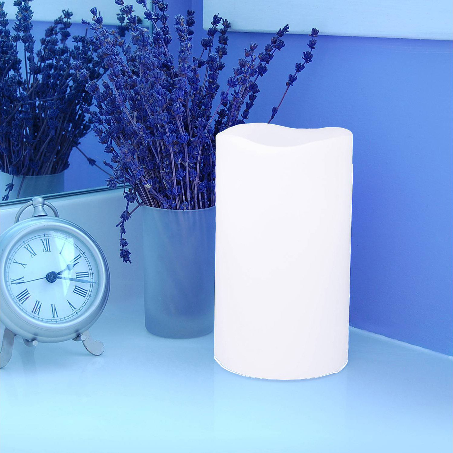 Outdoor Flameless Pillar Candles Pair 6'', Aimetech Real Wax Battery Operated Flickering LED Candle Light, Warm White Light by Aimetech (Image #7)