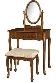 Amazon.com: Queen Anne Oak Bedroom Vanity Make Up Bench: Kitchen ...