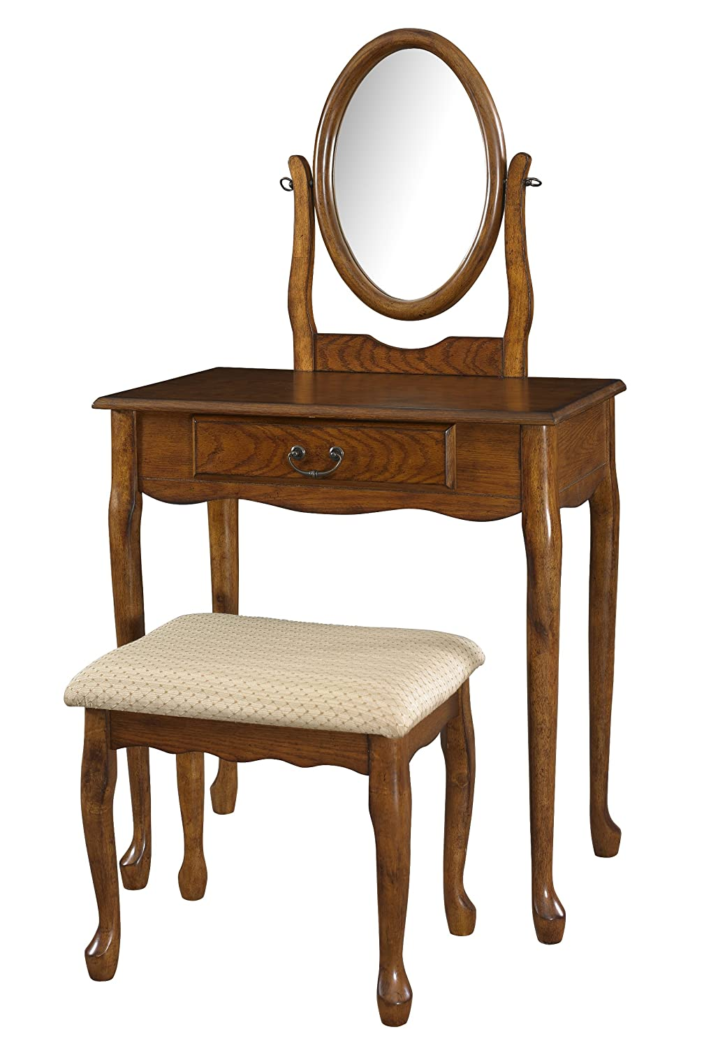 Amazon.com: Powell Company Woodland Oak Vanity Mirror and Bench ...