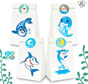 Uniceworld 24Pcs Shark Bags Party Favor Goodies Bags Birthday Theme Party Decoration Gift Bags with Shark Stickers Set of 24
