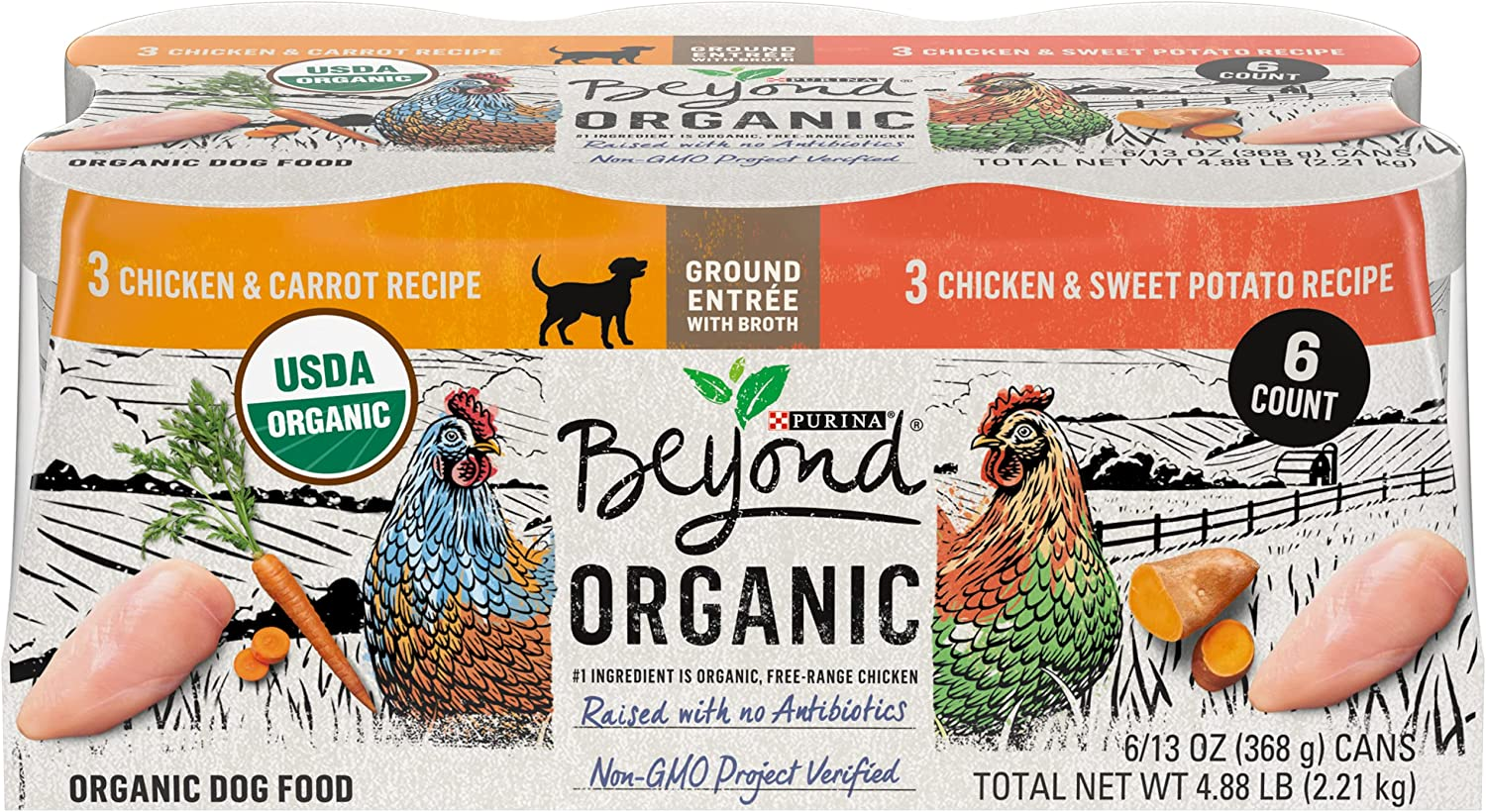 Purina Beyond Natural, Pate, High Protein Wet Dog Food Variety Pack, Organic Chicken Recipes - (6) 13 oz. Cans