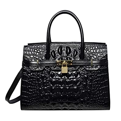 PIJUSHI Women Purses And Handbags Crocodile Top Handle Satchel Bags Designer  Padlock Handbags (9016 Black 3f077b73db