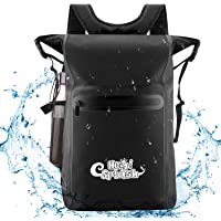 HeySplash Waterproof Backpack, 500D PVC 25L Roll Top Lightweight Floating Dry Bag with Adjustable Straps and Outer Zippered Pocket for Outdoor Sports, Camping, Hiking, Boating, Swimming