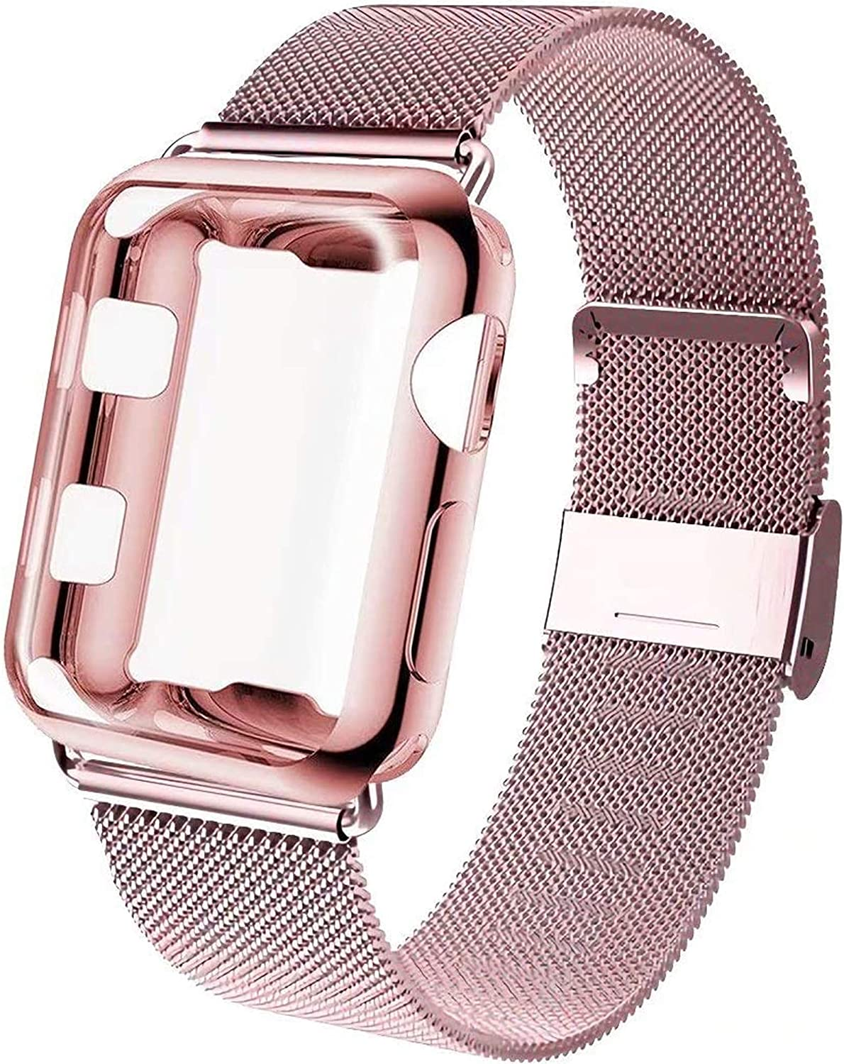 GBPOOT Compatible for Apple Watch Band 38mm 40mm 42mm 44mm with Screen Protector Case, Sports Wristband Strap Replacement Band with Protective Case for Iwatch Series 6/SE/5/4/3/2/11,42mm,Rose Gold