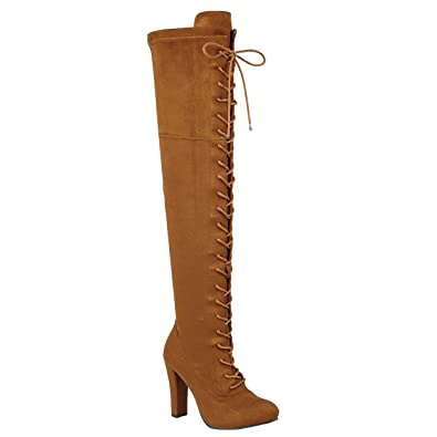 3315a73c4a44 Amazon.com | Women's Lace-up Long Comfy Suede Block Style Over The Knee  High Chunky Heel Long Boots | Over-the-Knee
