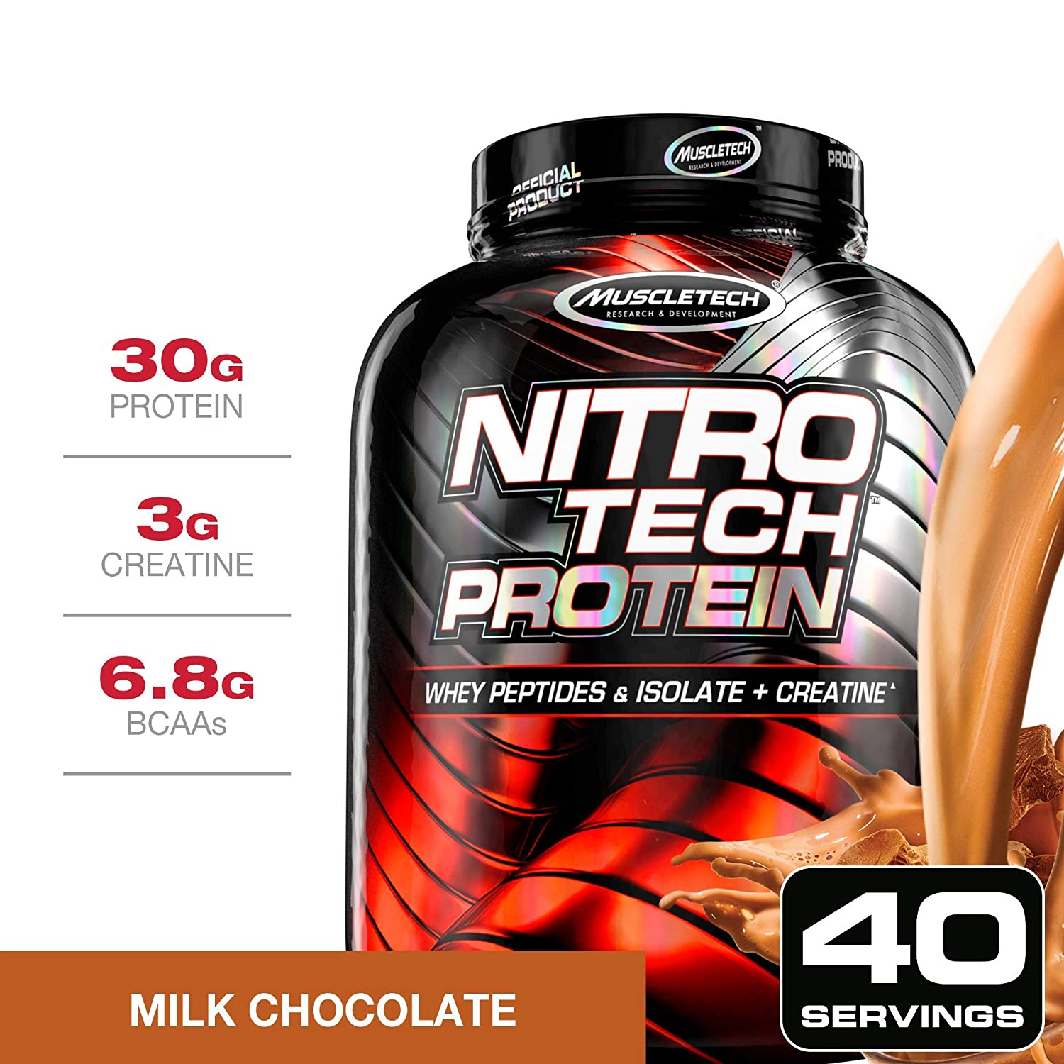 NitroTech Protein Powder Plus Creatine Monohydrate Muscle Builder, 100 Whey Protein with Whey Isolate, Milk Chocolate, 40 Servings 4lbs