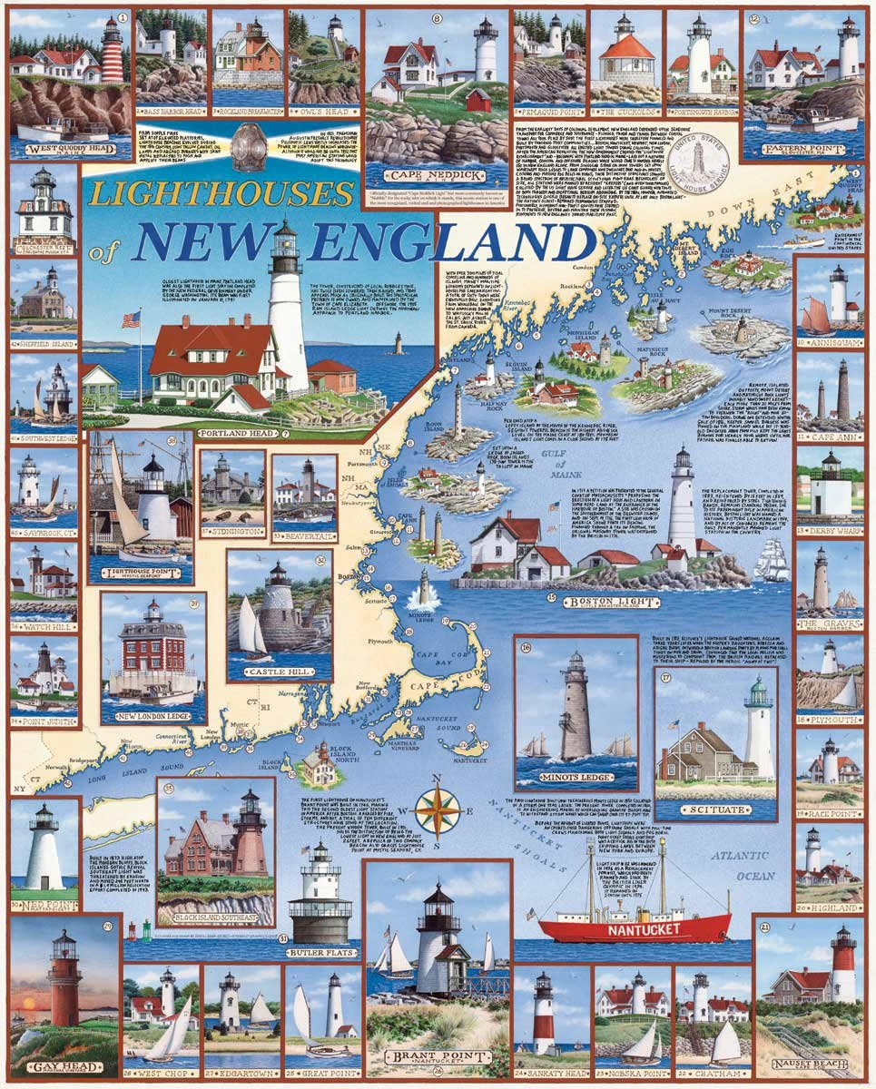 White Mountain Puzzles Lighthouses of New England - 1000 Piece Jigsaw Puzzle