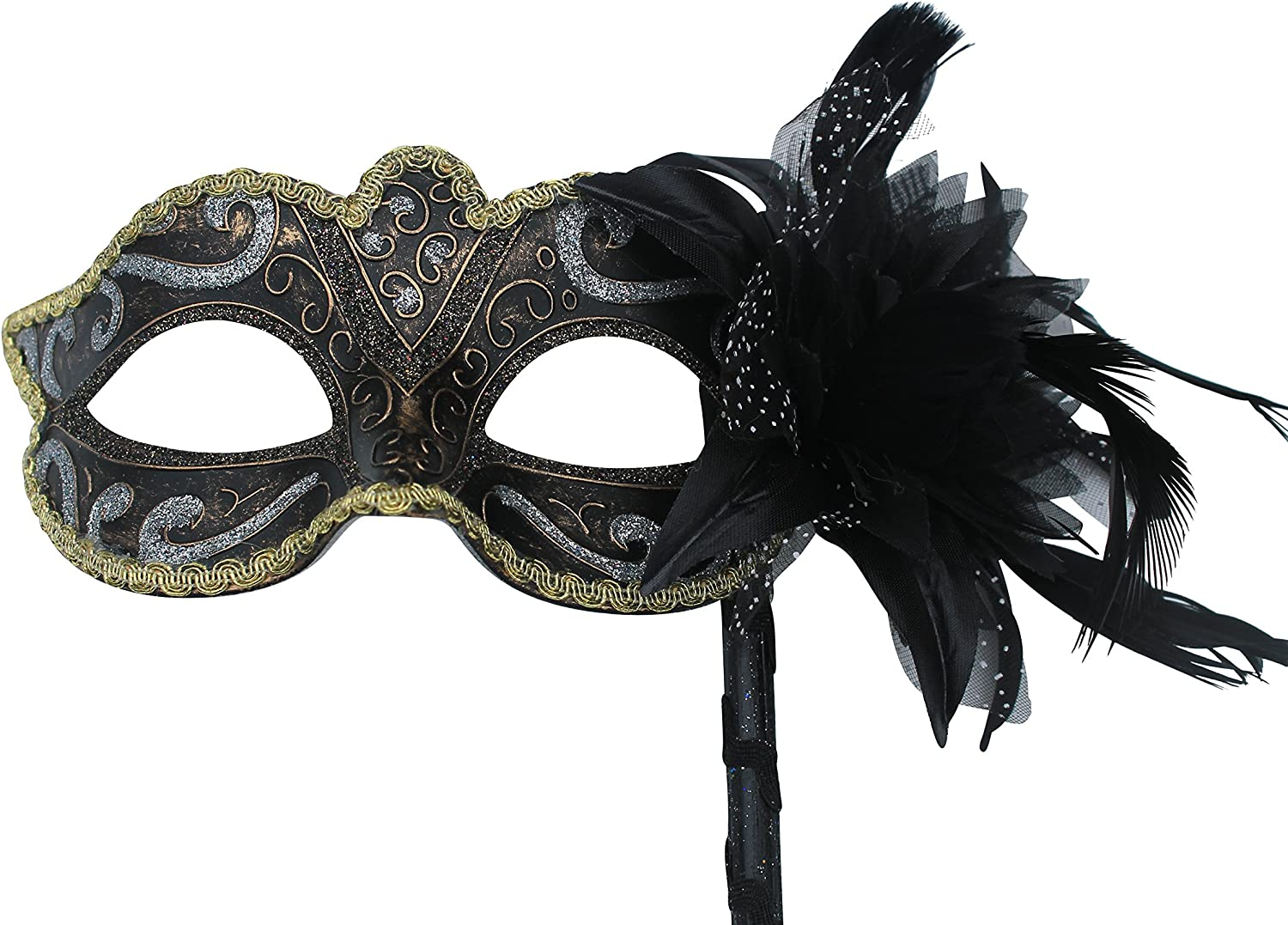 STUNNING BLACK AND SILVER VENETIAN MASQUERADE PARTY EYE MASK  A HAND HELD STICK