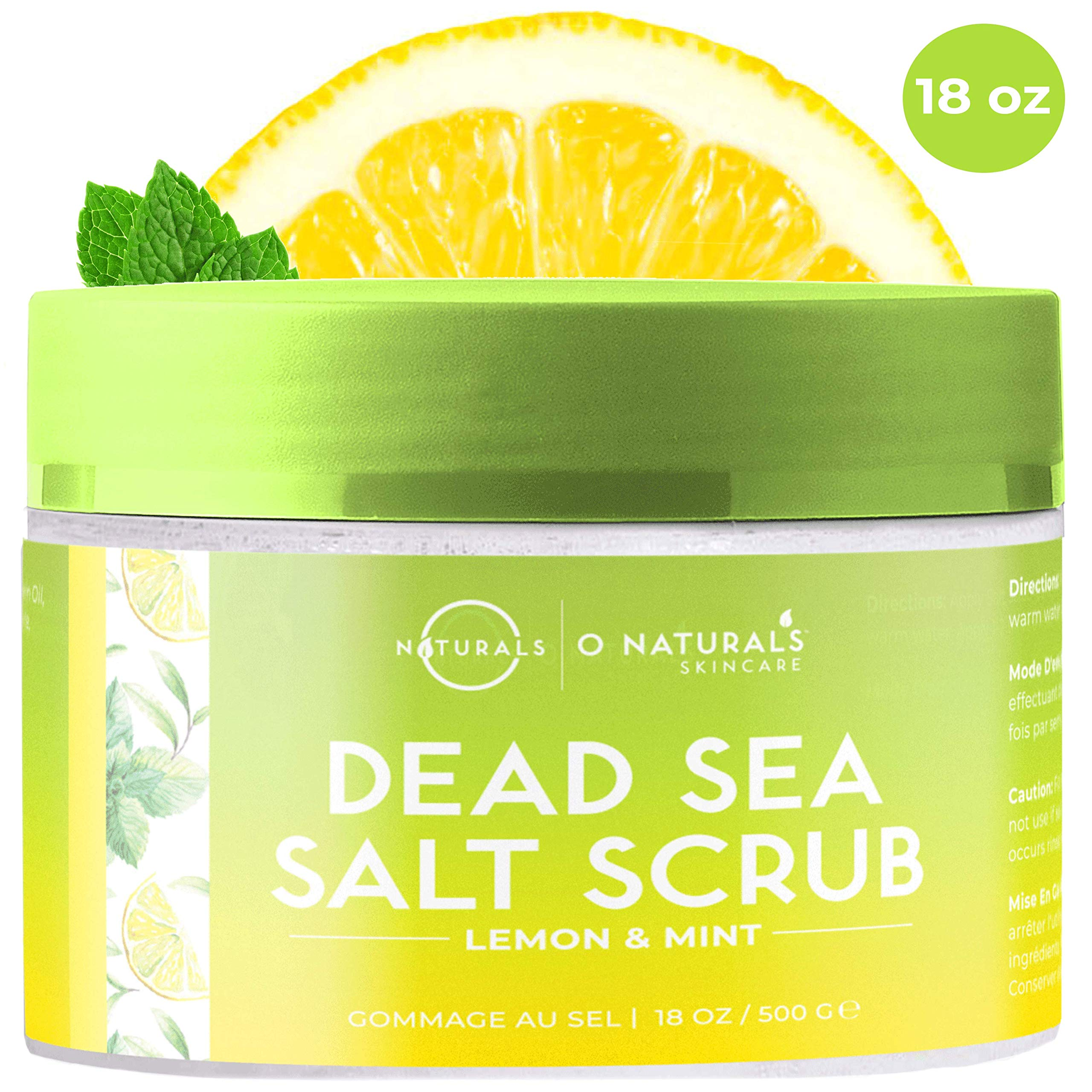 O Naturals Exfoliating Lemon Oil Dead Sea Salt Deep-Cleansing Face & Body Scrub. Anti-Cellulite Tones Treats Oily Skin, Acne, Ingrown Hairs & Dead Skin Remover. Essential Oils, Sweet Almond 18oz by O Naturals