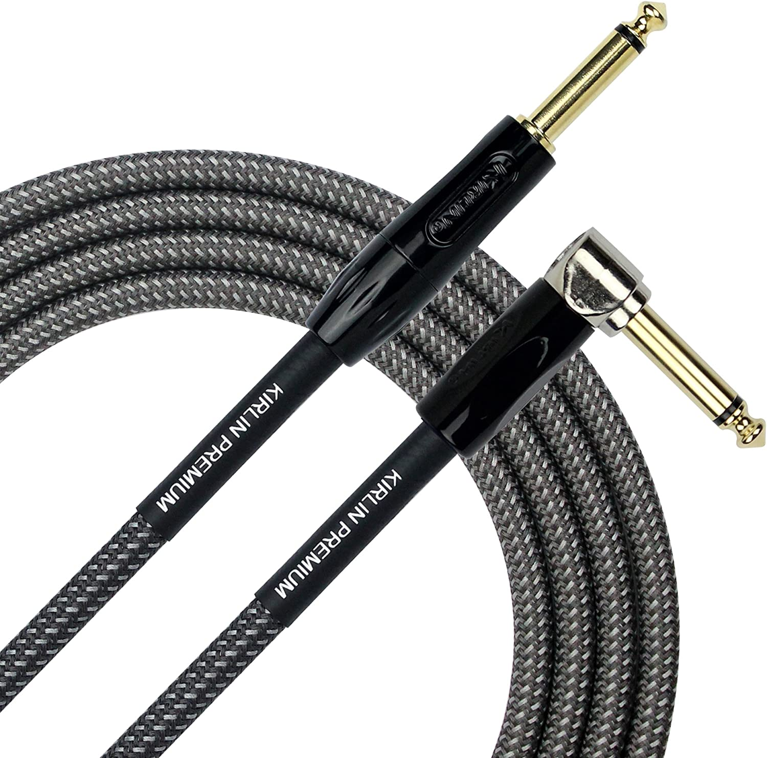 10ft Kirlin Woven Guitar Cable Straight Carbon Gray
