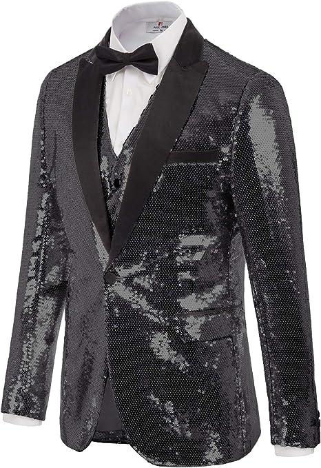 Men/'s Gentlemen Sparkle Suit Jacket Blazer Sequin Tuxedo Coat Party Cardigan New