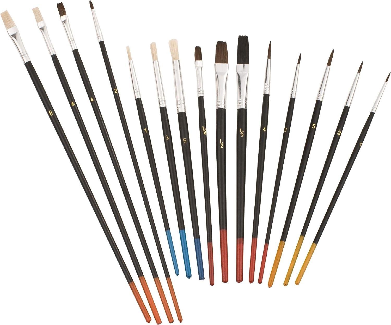 Kwb 030590 Juego de pinceles finos de 15 piezas, pincel para artistas, pinceles escolares, pinceles de pintura al óleo para modelismo, jardín de niños y mucho más.