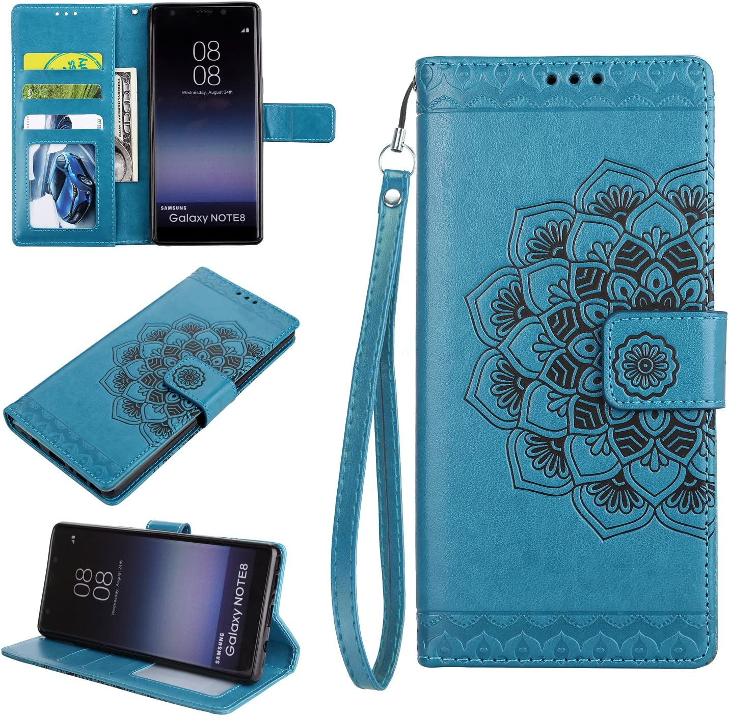 Cfrau Wallet Case with Black Stylus for Samsung Galaxy Note 8,Retro 3D Henna Mandala Floral Embossed Magnetic Strap Flip PU Leather Card Slots Stand Soft Rubber Case for Samsung Galaxy Note 8,Gold