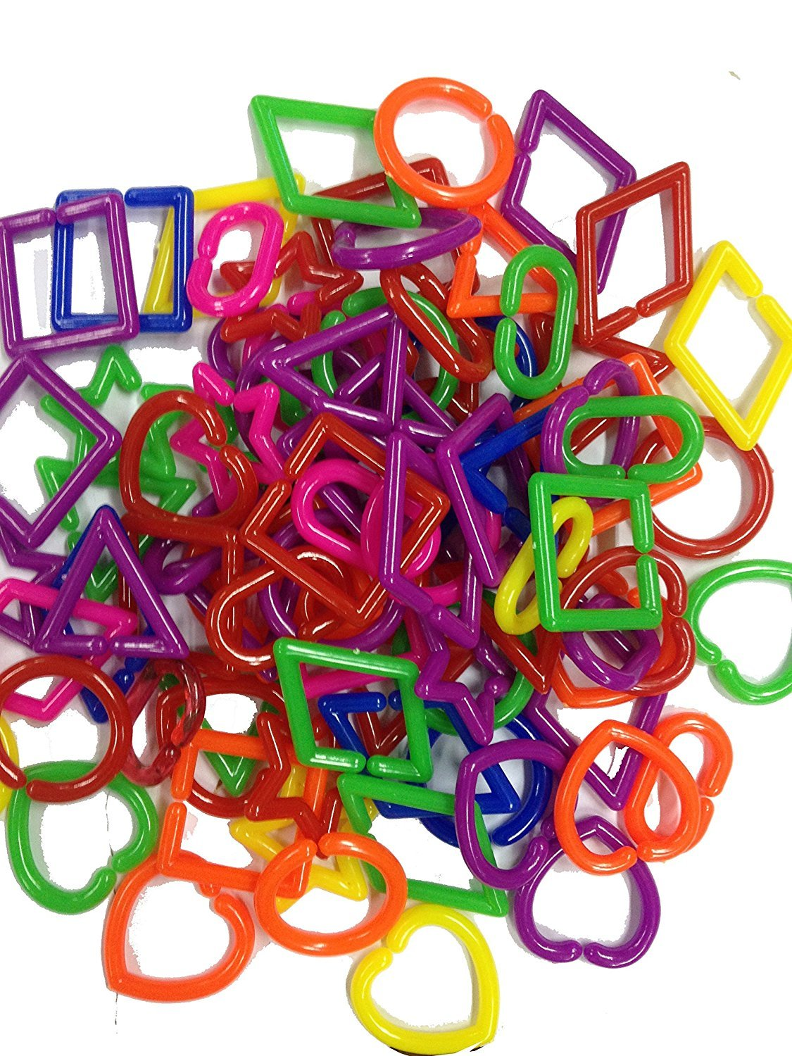 Power of Dream Colorful Geometry Shape Plastic Links, Fun Kids Kindergarten Children Education Toy,Counting Learning,Color Matching, 100 pcs.