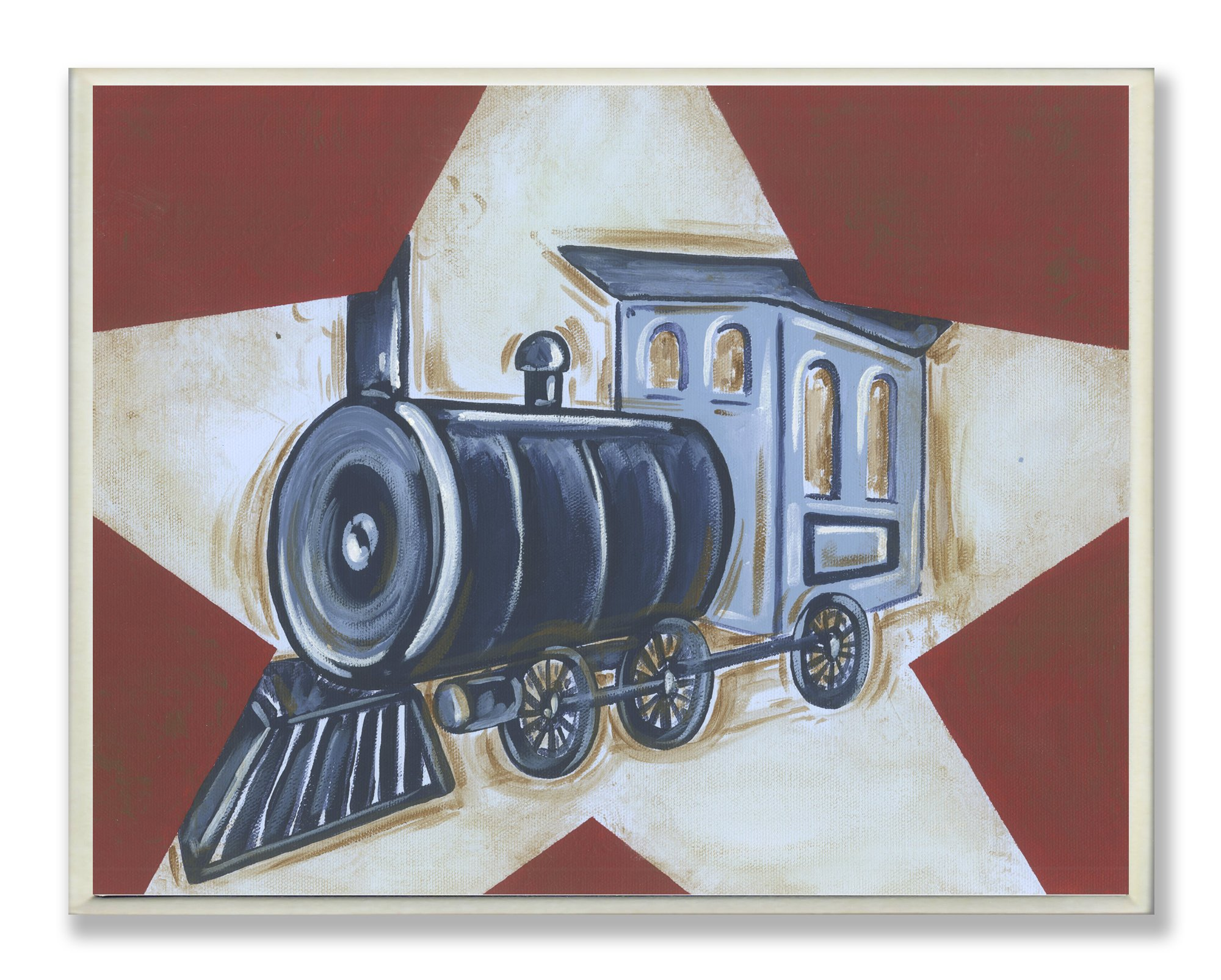 The Kids Room by Stupell Blue Train on White Star and Red Background Rectangle Wall Plaque by The Kids Room by Stupell