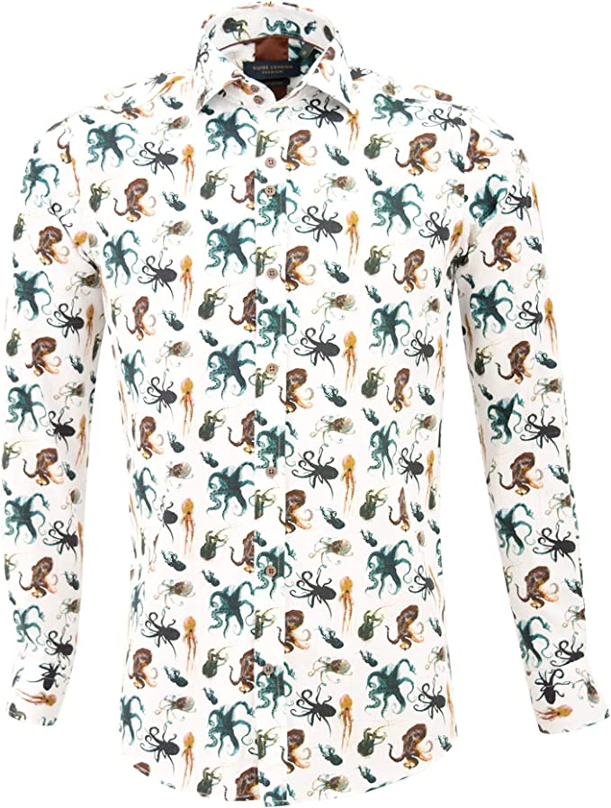 Guide London White Cotton Sateen Octopus Print Mens Shirt