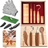 12pcs Wood Carving Tools Set-WAYCOM Hook Carving Knife,Detail Wood Knife,Whittling Knife Cut Resistant Gloves Leather Sheath