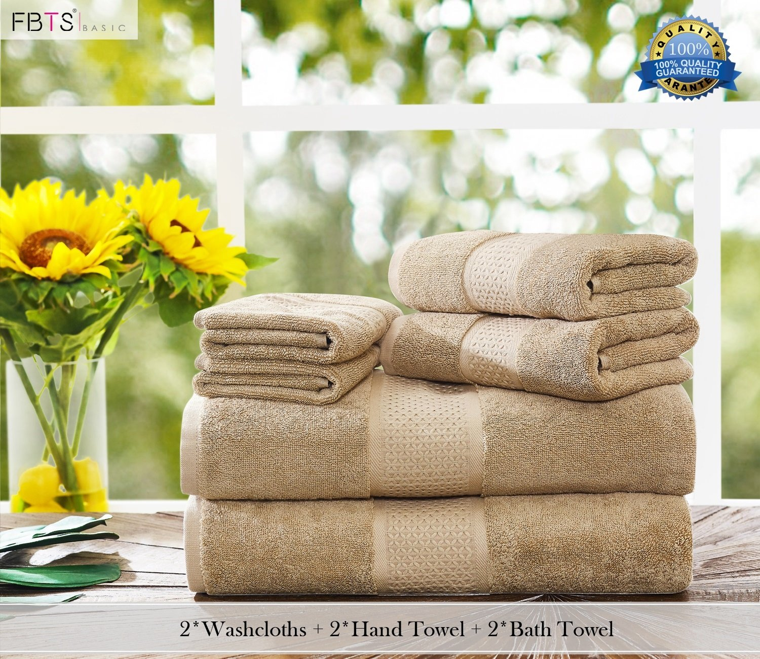 FBTS Basic Bath Towel Pure Cotton Luxury Highly Absorbent Extra Soft Professional Grade Five-Star Hotel Quality 1-Pack, Beige, 31x59 Inches