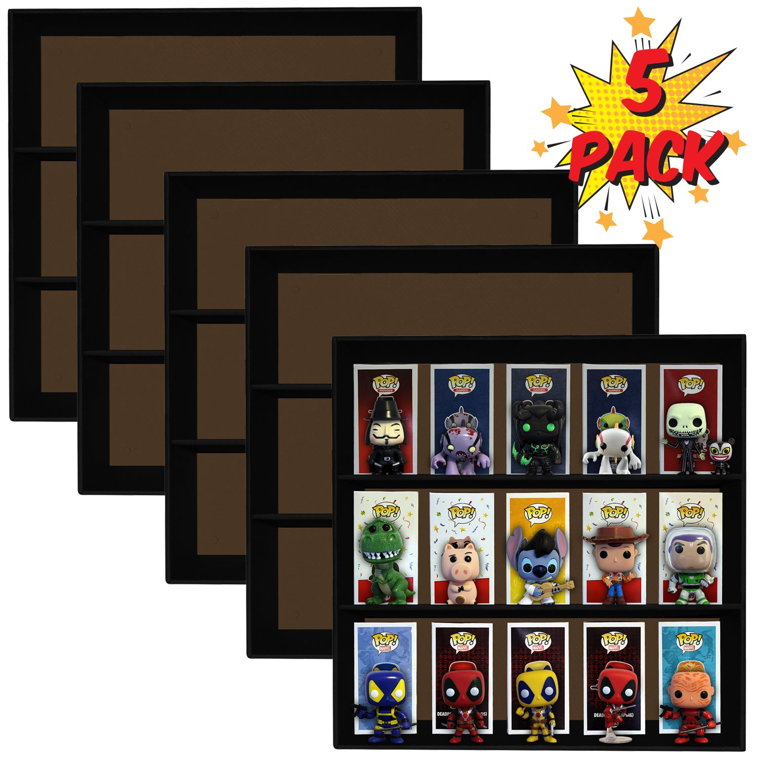 5 Pack, Display Geek Exclusive Stackable Toy Shelves for 4 in. Vinyl Collectible Figures, Black Corrugated Cardboard