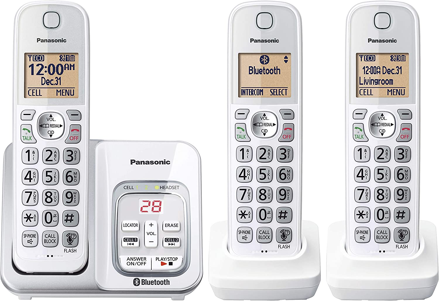 PANASONIC Expandable Cordless Phone System with Answering Machine, Link2Cell Bluetooth, Talking Caller ID, Call Block and and Intercom Voice Paging - 3 Cordless Handsets - KX-TG833SK1(White)