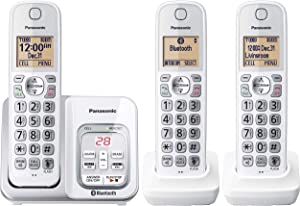 PANASONIC Expandable Cordless Phone System with Answering Machine, Link2Cell Bluetooth, Talking Caller ID, Call Block and and Intercom Voice Paging - 3 Cordless Handsets - KX-TG833SK1 (White)