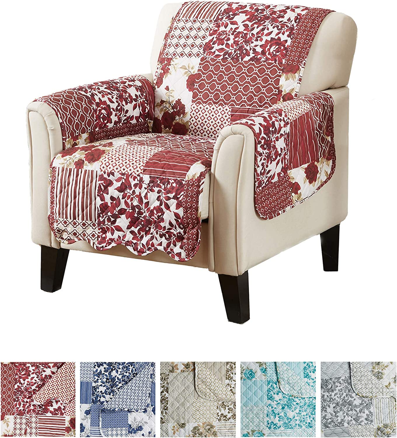 "Great Bay Home Patchwork Scalloped Printed Furniture Protector. Stain Resistant Chair Cover. (24"" Chair, Burgundy)"