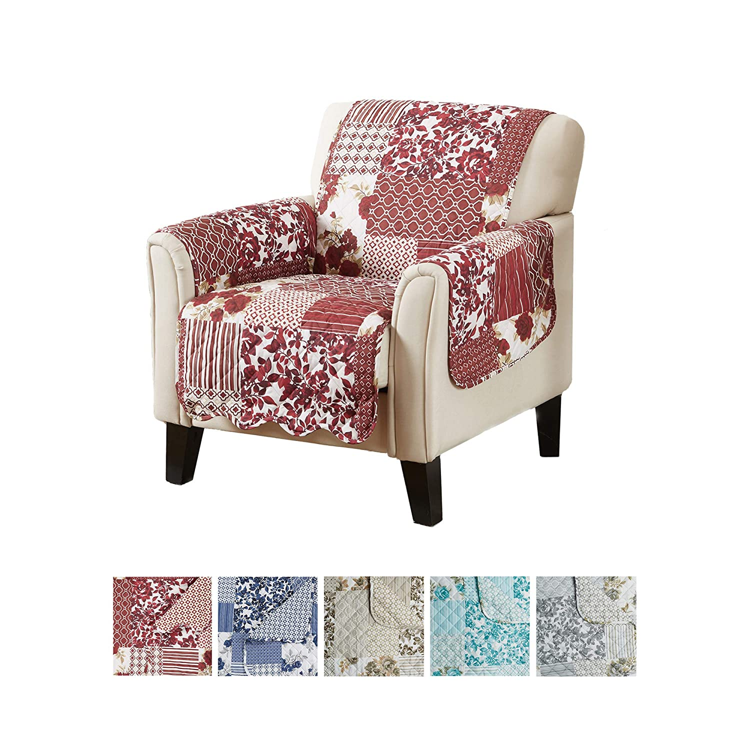 Great Bay Home Patchwork Scalloped Printed Furniture Protector. Stain Resistant Chair Cover. (24