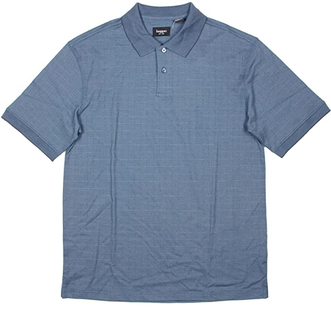 Haggar Mens Work To Weekend Pinstripe Polo Shirt Large Glacier Blue