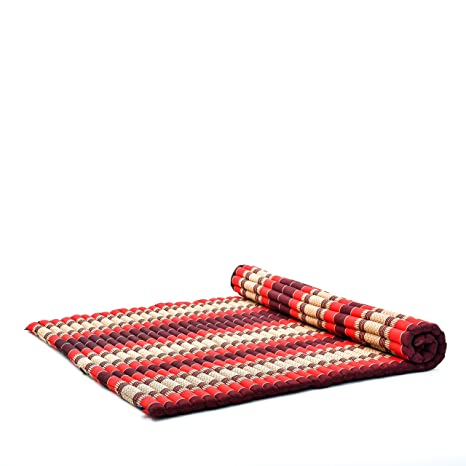 Leewadee Roll-Up Thai Mattress Guest Bed Yoga Floor Mat Thai Massage Pad XXL Queen-Size Eco-Friendly Organic And Natural, 79x59x2 inches, Kapok, red