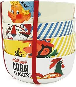 Kelloggs Corn Flakes 4 cuencos de porcelana para cereales: Amazon ...