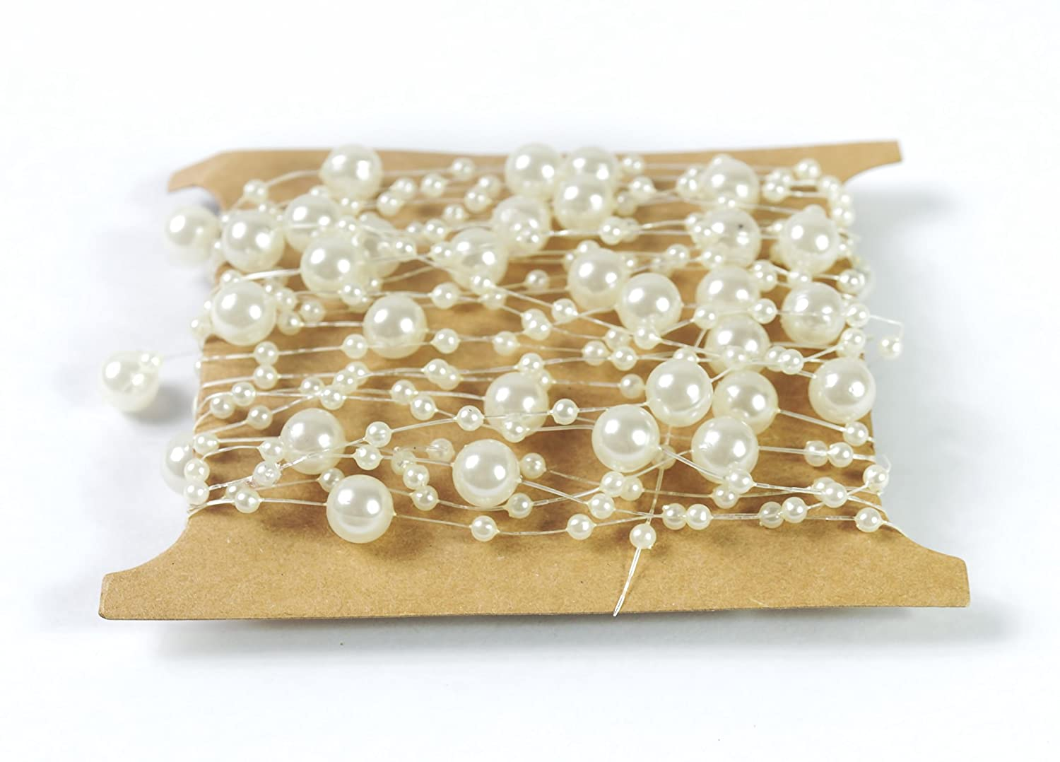 ALL in ONE 5M/16.4ft Pearls Beads String for DIY Craft Wedding Party Centerpieces Bridal Bouquet Bridal Headband Decoration (Ivory Heart Shape Pearl)