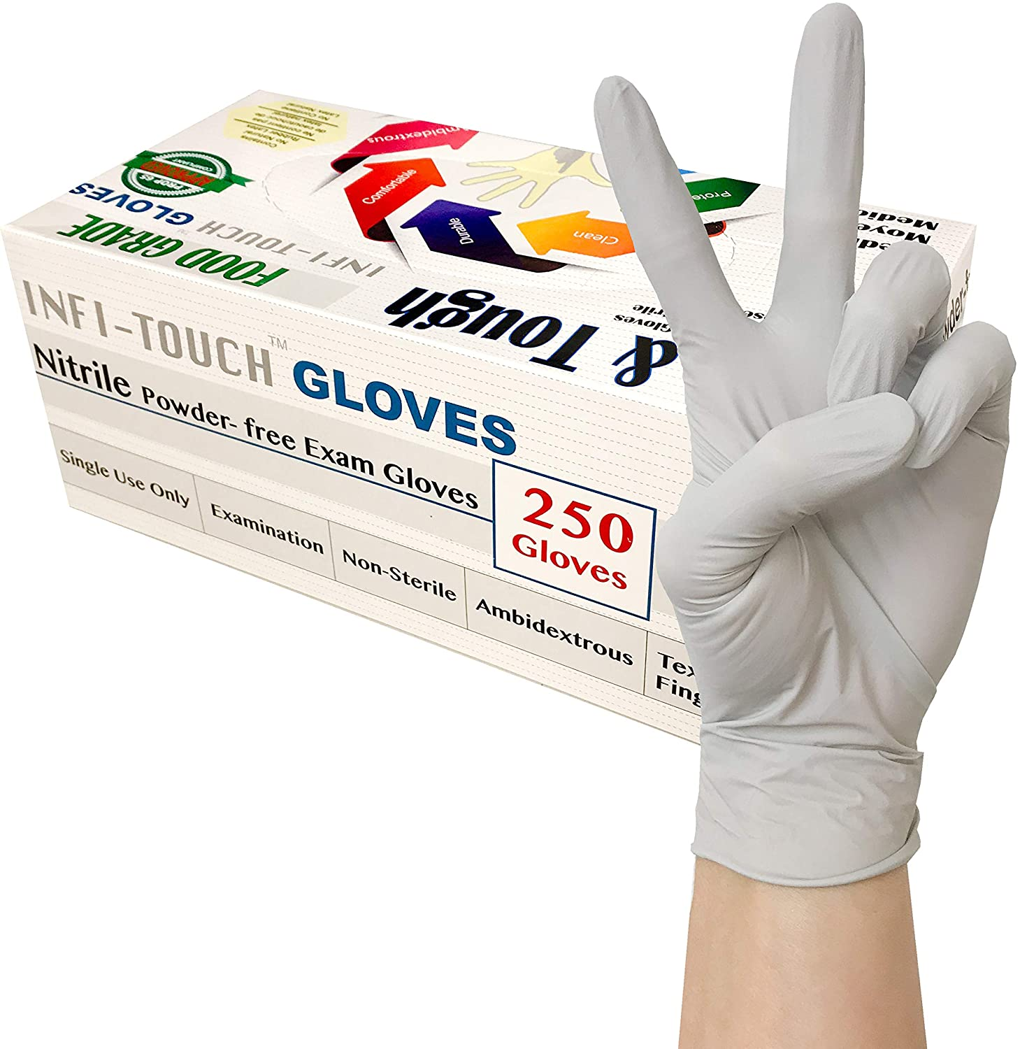 Infi-Touch - (250 Count) Food Safe - , Lite Duty Nitrile Gloves, Lite & Tough, Disposable Gloves
