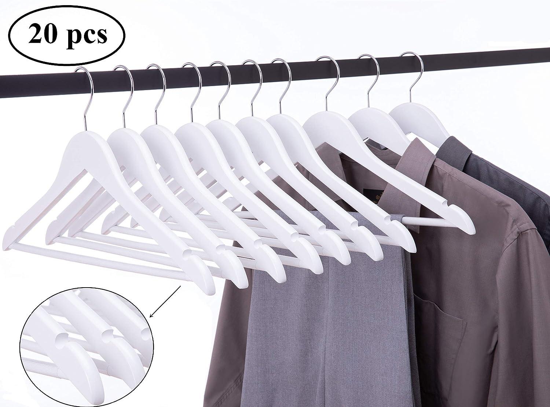 Cocomaya 44.5 cm Perchero de Traje de Madera Maciza Blanca Abrigos Ropa Camisas de Vestir Percha con Barra para Pantalones y Gancho Giratorio 360, Paquete de 20: Amazon.es: Hogar